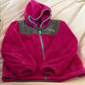 GIRLS size 5 North Face pink fleece zip up hoodie